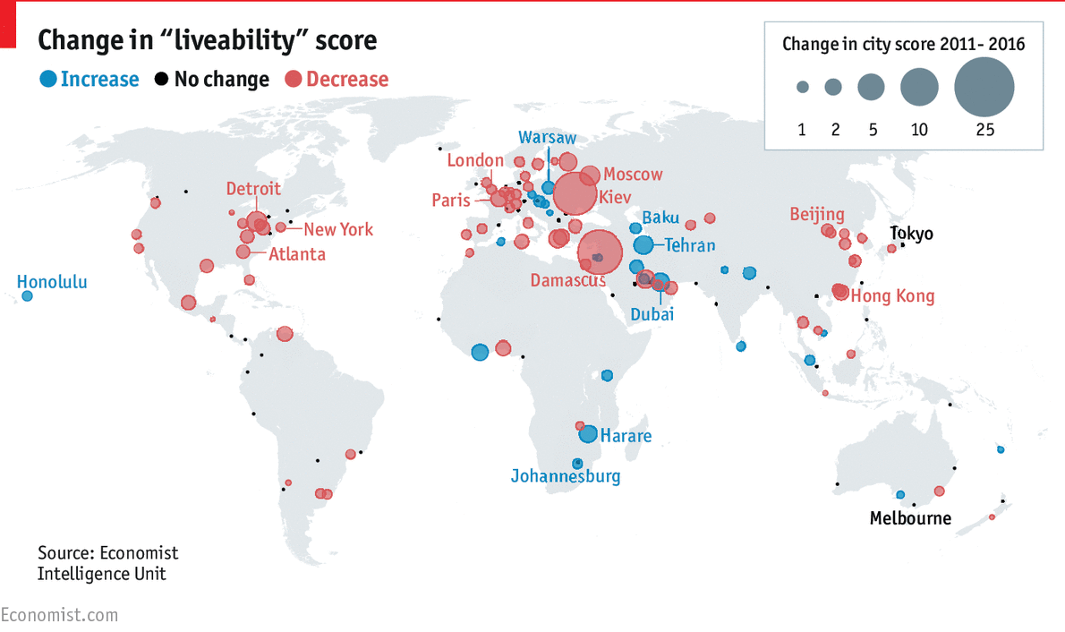 Map Of Cities Liveability Rating Change From To - Map of cities
