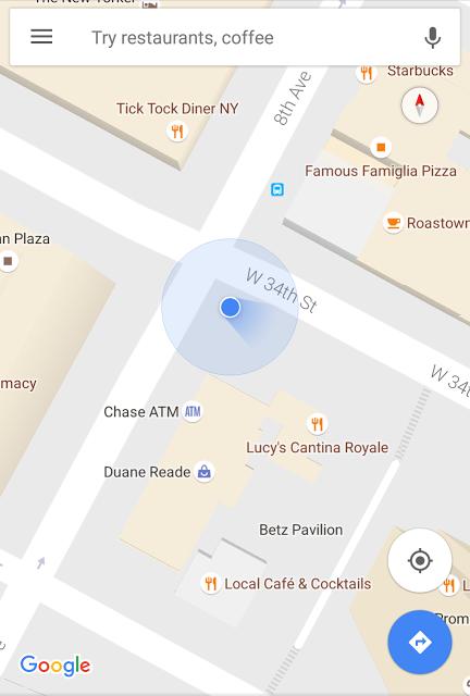 Google Maps Update: a blue beam for location - mapstor com