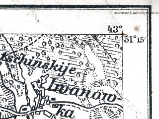 Reduced fragment of topographic map de--aut--075k--01-32--(1914)--N051-15_fE042-30--N051-00_fE043-00; towns and cities Mel'nitsa, Pesochnoye, Podrozh'ye