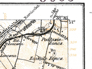 Reduced fragment of topographic map de--aut--075k--02-23--(1914)--N051-00_fE038-00--N050-45_fE038-30; towns and cities Kielce