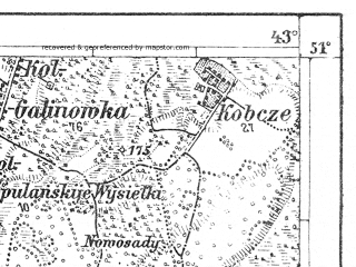 Reduced fragment of topographic map de--aut--075k--02-32--(1915)--N051-00_fE042-30--N050-45_fE043-00; towns and cities Lutsk, Rozhishche, Torchin, Zhidychin, Dorosini