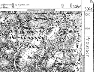Reduced fragment of topographic map de--aut--075k--03-13--(1907)--N050-45_fE033-00--N050-30_fE033-30; towns and cities Vrchlabi