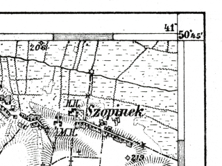 Reduced fragment of topographic map de--aut--075k--03-28--(1909)--N050-45_fE040-30--N050-30_fE041-00; towns and cities Zamosc, Zwierzyniec