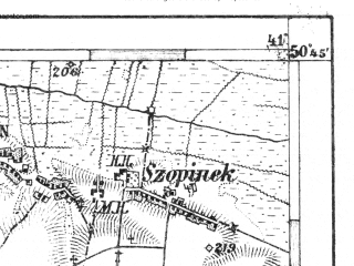 Reduced fragment of topographic map de--aut--075k--03-28--(1911)--N050-45_fE040-30--N050-30_fE041-00; towns and cities Zamosc, Zwierzyniec