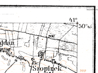 Reduced fragment of topographic map de--aut--075k--03-28--(1917)--N050-45_fE040-30--N050-30_fE041-00; towns and cities Zamosc, Zwierzyniec