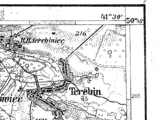 Reduced fragment of topographic map de--aut--075k--03-29--(1909)--N050-45_fE041-00--N050-30_fE041-30; towns and cities Laszczow