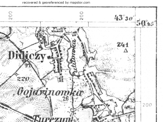 Reduced fragment of topographic map de--aut--075k--03-33--(1915)--N050-45_fE043-00--N050-30_fE043-30; towns and cities Mlinov, Lyshche, Olyka, Ostrozhets