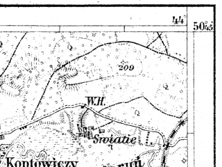 Reduced fragment of topographic map de--aut--075k--03-34--(1909)--N050-45_fE043-30--N050-30_fE044-00; towns and cities Rovno, Zdolbunov, Klevan', Zdolbitsa, Zorya