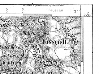 Reduced fragment of topographic map de--aut--075k--04-14--(1899)--N050-30_fE033-30--N050-15_fE034-00; towns and cities Kudowa-zdroj, Nachod, Jaromer