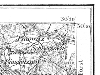 Reduced fragment of topographic map de--aut--075k--04-19--(1914)--N050-30_fE036-00--N050-15_fE036-30; towns and cities Ruda Slaska, Pyskowice