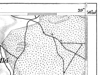 Reduced fragment of topographic map de--aut--075k--04-24--(1879)--N050-30_fE038-30--N050-15_fE039-00; towns and cities Szczucin