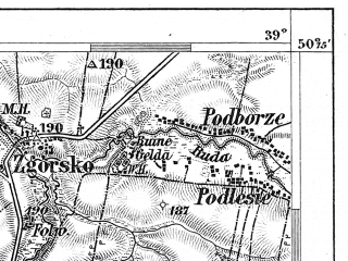 Reduced fragment of topographic map de--aut--075k--05-24--(1888)--N050-15_fE038-30--N050-00_fE039-00; towns and cities Tarnow, Dabrowa Tarnowska