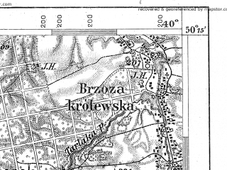 Reduced fragment of topographic map de--aut--075k--05-26--(1888)--N050-15_fE039-30--N050-00_fE040-00; towns and cities Rzeszow, Lancut, Kosina, Sokolow Malopolski