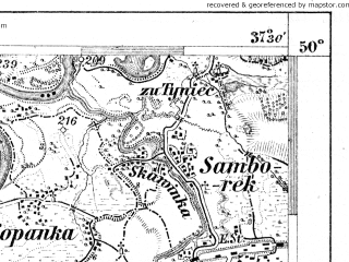 Reduced fragment of topographic map de--aut--075k--06-21--(1909)--N050-00_fE037-00--N049-45_fE037-30; towns and cities Skawina, Andrychow, Wadowice