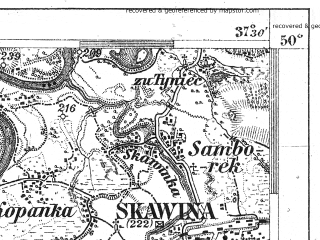Reduced fragment of topographic map de--aut--075k--06-21--(1911)--N050-00_fE037-00--N049-45_fE037-30; towns and cities Skawina, Andrychow, Wadowice