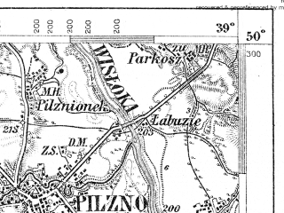 Reduced fragment of topographic map de--aut--075k--06-24--(1904)--N050-00_fE038-30--N049-45_fE039-00; towns and cities Tuchow, Pilzno