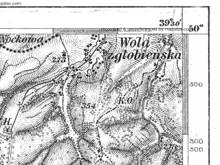 Reduced fragment of topographic map de--aut--075k--06-25--(1880)--N050-00_fE039-00--N049-45_fE039-30; towns and cities Strzyzow