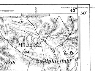 Reduced fragment of topographic map de--aut--075k--06-32--(1913)--N050-00_fE042-30--N049-45_fE043-00; towns and cities Zolochev, Oliyev, Podgortsy, Podkamen'