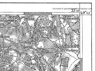 Reduced fragment of topographic map de--aut--075k--07-13--(1913)--N049-45_fE033-00--N049-30_fE033-30; towns and cities Havlickuv Brod