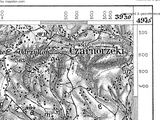 Reduced fragment of topographic map de--aut--075k--07-25--(1879)--N049-45_fE039-00--N049-30_fE039-30; towns and cities Jaslo, Krosno Odrzanskie, Dukla
