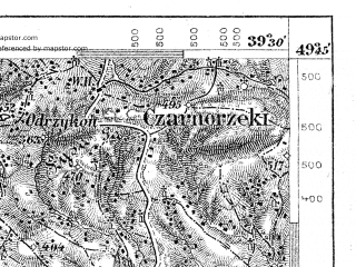 Reduced fragment of topographic map de--aut--075k--07-25--(1901)--N049-45_fE039-00--N049-30_fE039-30; towns and cities Jaslo, Krosno Odrzanskie, Dukla