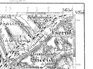 Reduced fragment of topographic map de--aut--075k--08-19--(1906)--N049-30_fE036-00--N049-15_fE036-30; towns and cities Cadca, Makov
