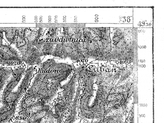 Reduced fragment of topographic map de--aut--075k--08-22--(1918)--N049-30_fE037-30--N049-15_fE038-00; towns and cities Zakopane, Nowy Targ, Sromowce Wyzne