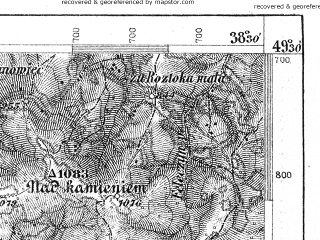 Reduced fragment of topographic map de--aut--075k--08-23--(1879)--N049-30_fE038-00--N049-15_fE038-30; towns and cities Stara Lubovna