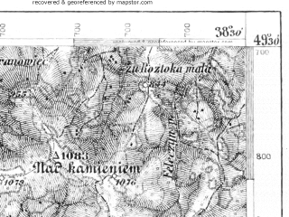 Reduced fragment of topographic map de--aut--075k--08-23--(1896)--N049-30_fE038-00--N049-15_fE038-30; towns and cities Stara Lubovna