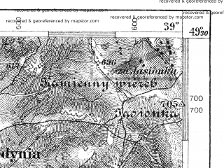 Reduced fragment of topographic map de--aut--075k--08-24--(1879)--N049-30_fE038-30--N049-15_fE039-00; towns and cities Krynica, Bardejov, Muszyna