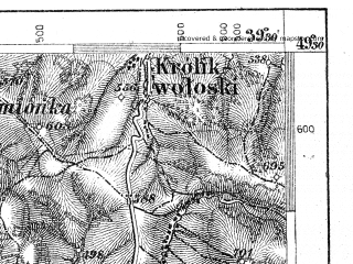 Reduced fragment of topographic map de--aut--075k--08-25--(1905)--N049-30_fE039-00--N049-15_fE039-30; towns and cities Barwinek, Svidnik