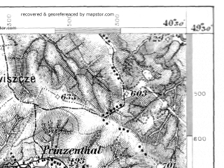 Reduced fragment of topographic map de--aut--075k--08-27--(1878)--N049-30_fE040-00--N049-15_fE040-30; towns and cities Ustrzyki Dolne, Lesko, Terlo