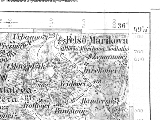 Reduced fragment of topographic map de--aut--075k--09-18--(1906)--N049-15_fE035-30--N049-00_fE036-00; towns and cities Puchov