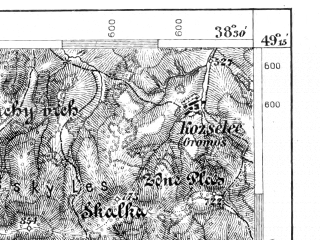 Reduced fragment of topographic map de--aut--075k--09-23--(1899)--N049-15_fE038-00--N049-00_fE038-30; towns and cities Kezmarok, Levoca