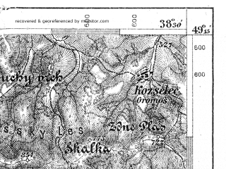 Reduced fragment of topographic map de--aut--075k--09-23--(1904)--N049-15_fE038-00--N049-00_fE038-30; towns and cities Kezmarok, Levoca