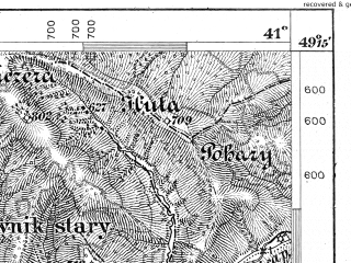 Reduced fragment of topographic map de--aut--075k--09-28--(1879)--N049-15_fE040-30--N049-00_fE041-00; towns and cities Turka, Il'nik, Yasenitsa, Isai