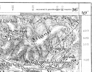 Reduced fragment of topographic map de--aut--075k--10-18--(1903)--N049-00_fE035-30--N048-45_fE036-00; towns and cities Trencin, Nove Mesto Nad Vahom