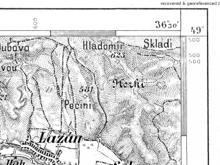 Reduced fragment of topographic map de--aut--075k--10-19--(1885)--N049-00_fE036-00--N048-45_fE036-30; towns and cities Prievidza