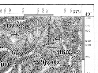 Reduced fragment of topographic map de--aut--075k--10-21--(1879)--N049-00_fE037-00--N048-45_fE037-30; towns and cities Brezno