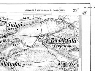 Reduced fragment of topographic map de--aut--075k--10-24--(1879)--N049-00_fE038-30--N048-45_fE039-00; towns and cities Presov