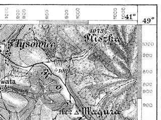 Reduced fragment of topographic map de--aut--075k--10-28--(1913)--N049-00_fE040-30--N048-45_fE041-00; towns and cities Verkhniye Vorota, Zhupany, Bitlya