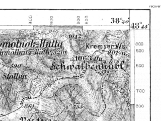 Reduced fragment of topographic map de--aut--075k--11-23--(1898)--N048-45_fE038-00--N048-30_fE038-30; towns and cities Gemerska Horka, Roznava