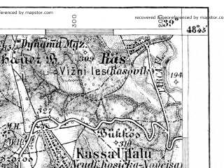 Reduced fragment of topographic map de--aut--075k--11-24--(1909)--N048-45_fE038-30--N048-30_fE039-00; towns and cities Kosice