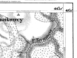 Reduced fragment of topographic map de--aut--075k--11-35--(1880)--N048-45_fE044-00--N048-30_fE044-30; towns and cities Kamenets-podol'skiy, Khotin, Dolzhok, Khodorovtsy, Vrublevtsy