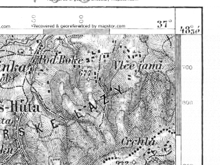 Reduced fragment of topographic map de--aut--075k--12-20--(1891)--N048-30_fE036-30--N048-15_fE037-00; towns and cities Banska Stiavnica, Hantianske Nemce