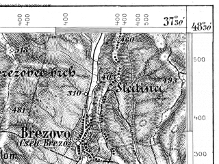 Reduced fragment of topographic map de--aut--075k--12-21--(1879)--N048-30_fE037-00--N048-15_fE037-30; towns and cities Lucenec, Fil'akovo
