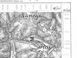 Reduced fragment of topographic map de--aut--075k--12-29--(1907)--N048-30_fE041-00--N048-15_fE041-30; towns and cities Ol'shany, Sinevir, Berezovo