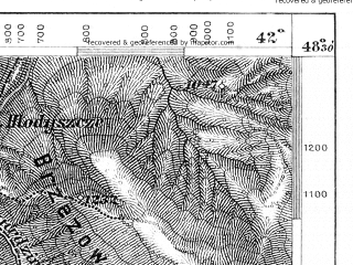 Reduced fragment of topographic map de--aut--075k--12-30--(1880)--N048-30_fE041-30--N048-15_fE042-00; towns and cities Bystritsa, Lopukhov, Ust'-chorna
