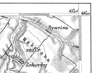 Reduced fragment of topographic map de--aut--075k--12-33--(1906)--N048-30_fE043-00--N048-15_fE043-30; towns and cities Snyatyn, Kitsman', Vashkovtsy, Rudniki, Bobovtsy