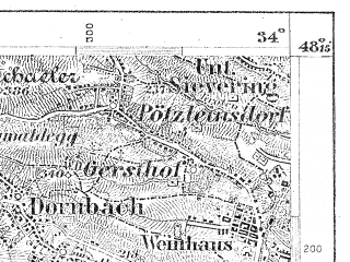 Reduced fragment of topographic map de--aut--075k--13-14--(1900)--N048-15_fE033-30--N048-00_fE034-00; towns and cities Wien, Baden, Modling
